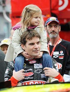 Jeff Gordon gives daughter Ella a ride