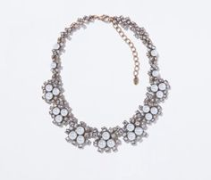 Zara faux pearl big jewel necklace