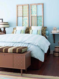Cabeceros caseros : Si cuentas con un presupuesto ajustado para decorar tu dormitorio prescinde del cabecero, ya que es una pieza que puedes crear tú mismo con ganas y un poco