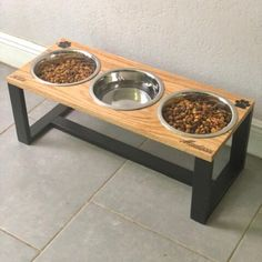 Etsy :: Your place to buy and sell all things handmade Raised Dog Feeder, Raised Dog Bowls, Elevated Dog Bowls, Dog Bowl Stand, Dog Area, Dog Rooms, Pet Feeder, Cat Room, Medium Sized Dogs