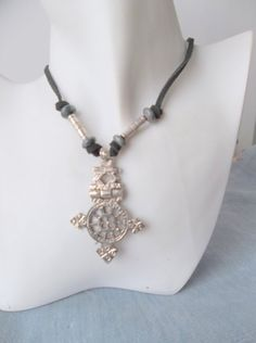 LargeEgyptian Silver Cross Necklace With by ShadowoftheCross