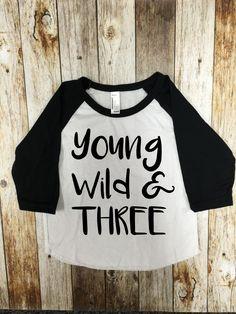 Young Wild And Three Baseball Tee