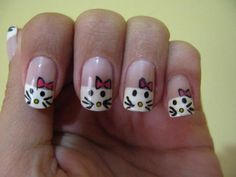 Young girls make different types of nail art designs on their nails with different themes and patterns. I have previously posted an article on peacock nail art designs. Today I am going to share Hello Kitty Nail Art designs for teenage girls. Fingernail Designs, Toe Nail Designs, Nail Art Hacks, Spring Nail Art, Spring Nails, Peacock Nail Art, New Nail Art Design, Hello Kitty Nails, Finger Nail Art