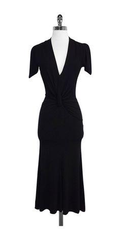 Roberto Cavalli Black Short Sleeve Maxi Dress