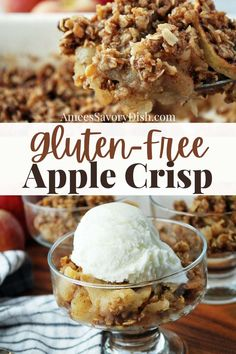 Gluten-Free Apple Crisp -sweet and spiced baked apples topped with a perfectly crisped oat and flour crisp topping, just as delicious as the original. This healthy apple crisp is the best variation of a classic fall favorite! via @Ameessavorydish Fun Desserts, Delicious Desserts, Dessert Recipes, Awesome Desserts, Yummy Food, Gluten Free Apple Crisp, Apple Crisp Recipes, Savoury Dishes, Food Dishes