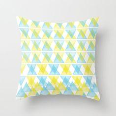 Pillow Cover, Watercolour Triangles, Throw Pillow, Lime Blue, Modern Decor, Nursery Room Pillow, 16x16 Pillow, Home Decor -  Arlequin