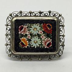 Vintage Italy Micro Mosaic Tesserae Tile Pin Brooch 10 Flowers In Black Frame  | eBay