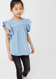 Cotton fabric Front shirring detail Round neck Sleeve with ruffle detail  Back keyhole closure