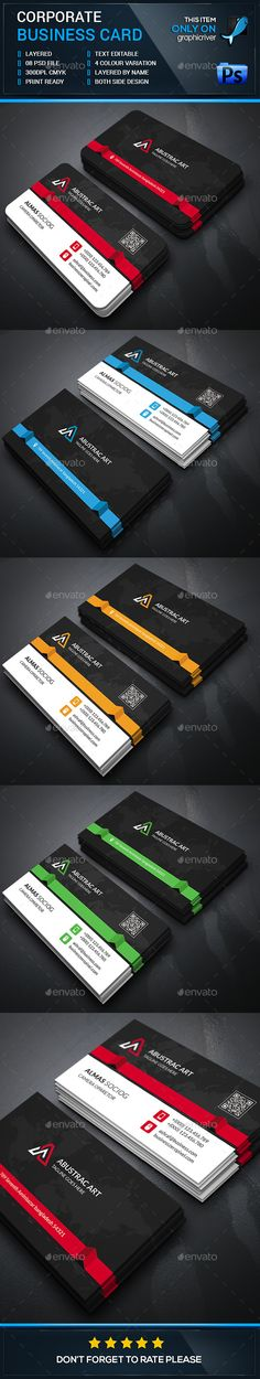 Creative Corporate Business Card - Business Cards Print Templates Download here : http://graphicriver.net/item/creative-corporate-business-card/12709043?s_rank=1734&ref=Al-fatih