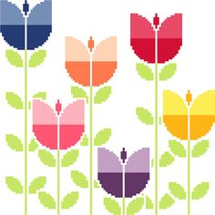 Modern cross stitch pattern. Field of retro tulips