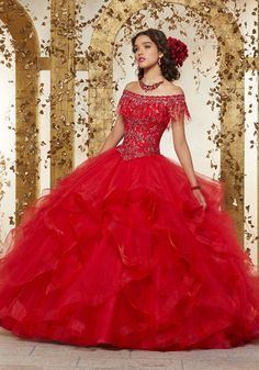 07c0f02d14 Rhinestone and Crystal Beaded Embroidery on a Flounced Tulle Ballgown