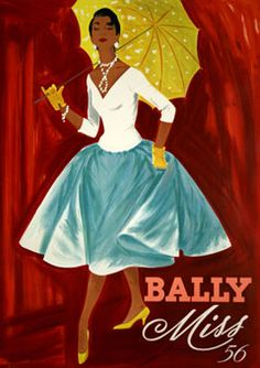 A beautiful vintage 1950s Bally shoe ad. #vintage #shoes #ads