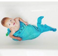 Mer tail towel and baby in tub!  #mermaidlife  Thetropicalmermaid.com