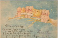 Vintage Christmas Postcard, Kewpies and Chicks on Tree Branch, Signed Artist Rose O'Neil