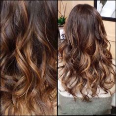 Hair Styles Ideas : Long wavy brown ombre & balayage hair color for dark hair, trend of 2015 summer . Blonde Balayage Highlights, Brown Hair Balayage, Hair Color Balayage, Caramel Balayage, Ombre Bayalage, Bayalage Brunette, Carmel Highlights, Sombre Hair, Honey Balayage