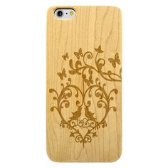 Floral Butterfly Tree Heart Love Birds- Laser Engraved Wood Phone Case (Maple,Cherry,Black,Cork)