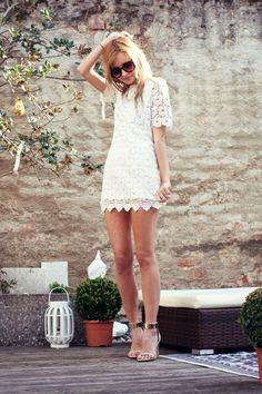 white lace dress, love it