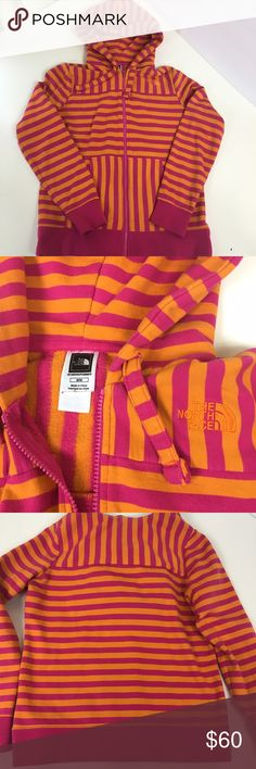 Pink & Orange Striped The North Face Hoodie Such a fun print/colors. Very lightly worn. Nice and cozy. No trades The North Face Tops Sweatshirts & Hoodies