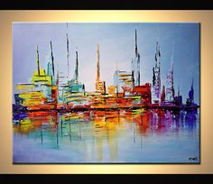 Items similar to Modern Art Poster on Photographic Paper - City Lights - - Art by Osnat on Etsy City Painting, Acrylic Painting Canvas, Canvas Art, Acrylic Art, Abstract City, Cityscape Art, Kunst Poster, Modern Art Paintings, Modern Artwork