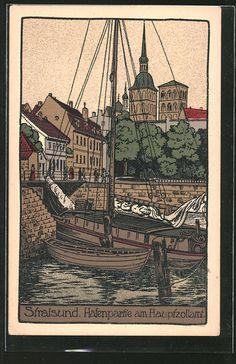 Steindruck-AK-Stralsund-Hafenpartie-und-Hauptzollamt.jpg (398×615)