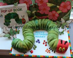 """A Very Hungry Caterpillar"""" Birthday Cake! tutorial  Doesn't have to be a birthday. Could do just for fun with caterpillar unit.  http://bringingbeauty.blogspot.com"""