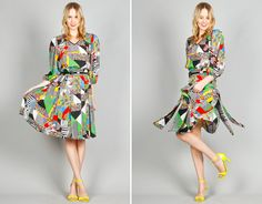 Ela Hawke Vintage // 80s DIANE FREIS PRINT DRESS $79 // #elahawkevintage #80s #diane #freis #print #printed #pleat #pleats #pleated #dress #vintage #shop #online #clothing #shopping #fashion