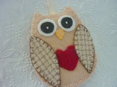 Owl Felt Ornament Primitive Valentines Day by pennysbykristie, $14.00