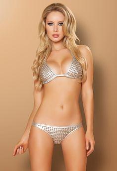 NWT Blackheart Shimmer Black Tie-Side Cheeky Bikini Bottoms Glitter Sparkle Med