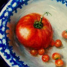 Home Grown Oil Painting Tomatoes Still Life Art Vegetable Garden, painting by artist Debra Sisson