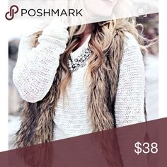 Faux Fur Sweater Vest Very cute Faux beige/black fur front. Black sweater on back. Zip closure. Sits at the waist. Pink Rose Jackets & Coats Vests