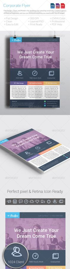 Flat Corporate Flyer Template V2  Flat Corporate Flyer Template V2 is simple and elegant for anything corporate. All layers can be changed, you can replace all the information on the flyer in easy way with just a few clicks.  Features:  › CMYK › 300 DPI › A4 With Bleeds › Print ready › Flat Design › Clean › Easy To Use  Font: Pacifico http://www.google.com/fonts/specimen/Pacifico Roboto http://www.google.com/fonts/specimen/Roboto