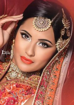 ♔LAYA♔INDIAN BRIDE♔ Indian Bridal Makeup, Asian Bridal, Bridal Beauty, Oriental Fashion, Indian Fashion, Makeup Geek, Eye Makeup, Hijab Makeup, Beautiful Eyes