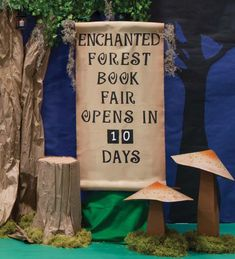 Make tree stumps out of craft paper and cardboard tubes. Place a big Book Fair countdown scroll up front. Construct oversized toadstools out of cardboard, poster board and paint. Enchanted Forest Decorations, Forest Classroom, Enchanted Forest Party, Fair Theme, Construction Crafts, Fallen Book, Painted Signs, Tree Stumps, Cardboard Tubes
