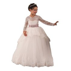 Lace First Communion Girls Ball Gowns 2-12 Year Old Ivory Custom Size -- Awesome products selected by Anna Churchill