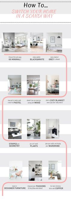 "Check this infographic if you want to know how to switch your home in a scandinavian way. ""spacesXplaces"" The Best of interior decor in 2017."