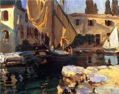 San Vigilio. A Boat with Golden Sail - John Singer Sargent, 1913