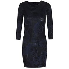 #French Connection Black 3/4-Sleeve Textured Bodycon Dress 4