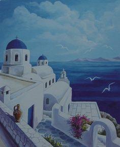 santorini art painting