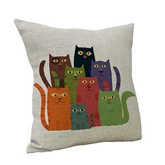 Nunubee Cotton Linen Cushion Cover Home Decor Square Printed Throw Pillow Case Cat >>> Learn more by visiting the image link.