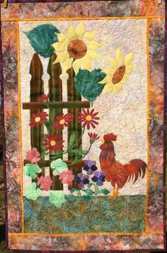 """Rooster Garden""  Finished Dec 2008.  I made this quilt for one of my sisters' who likes roosters.  Design by Edyta Sitar."