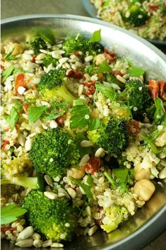 Quick and easy high protein vegan salad made with quinoa broccoli chickpeas sunflowers seeds sun-dried tomatoes and fresh dill and parley. This healthy recipe will fill you up and keep you energized. Great for lunch dinner or as a side dish.