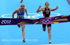 Here's the dramatic end to the women's triathlon as @NicolaSpirig pips @lisanorden to gold medal via http://newsmix.me