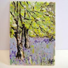 Ardgartan Bluebell Woodland Original Arylic painting ACEO £3.50
