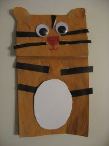 Paper bag tiger puppet for when it is the Year of the Tiger
