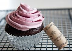 "Red Wine Chocolate Cupcakes. Easy-peasy, boozy and yum. An amazing cupcake recipe. Use a blackberry red wine if you've got it. My ""top secret"" buttercream frosting recipe, however, is different from this one."
