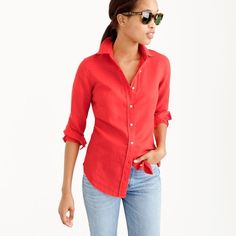J.Crew Perfect Shirt ($25) ❤ liked on Polyvore featuring tops, long length shirts, slimming tops, shirt top, long sleeve shirts and tailored shirts
