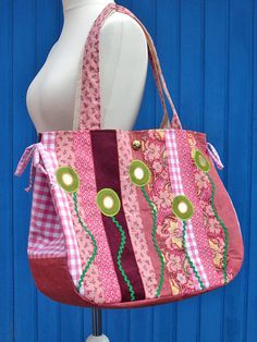 COLORFLOWERSbag rosegreen by taschenpilz on Etsy, €89.50