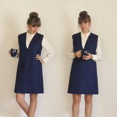 1960s navy blue wool dress (m-l)