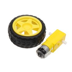 3-6V Dual Axis Gear Motor with 65mm Rubber Wheel