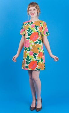 CHEERFUL Vtg 60s Mod Cotton BEST Floral Print Mini Dress XS/S